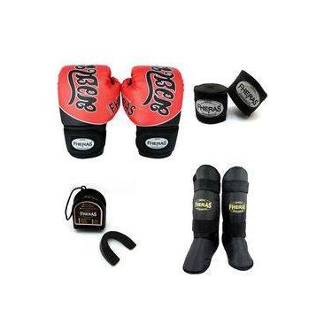 Kit Boxe Muay Thai - Luva Bandagem Bucal Caneleira - Tailandês Vermelho