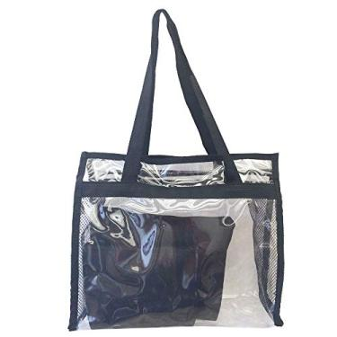 f153fe3385 Bolsa feminina praia sacola transparente 2 necessaires brinde preta