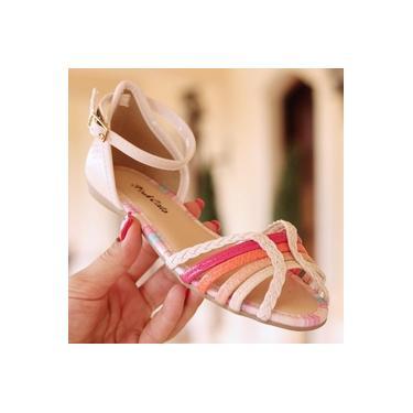 Sandalia Rasteira Pink Cats Amendoa/Praia Infantil V0762