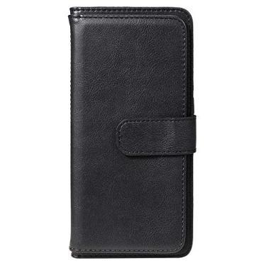Capa carteira para Motorola Moto G9 Plus Couro PU Flip Stand [10 cartões] [cor sólida] Capa coldre para celular - Preta