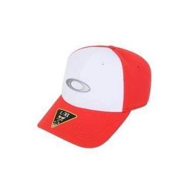 38486e0b46cfd Boné Oakley Tican Vermelho Branco