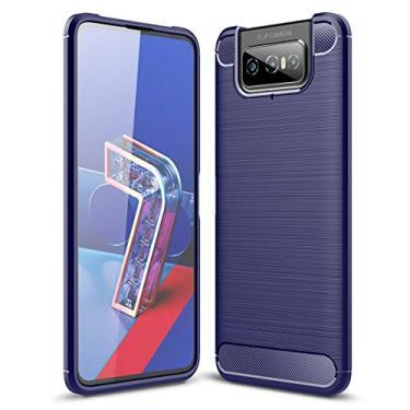 SHUNDA Capa para Asus Zenfone 7 ZS670KS, capa protetora ultrafina de TPU macia antiderrapante à prova de choque para Asus Zenfone 7 ZS670KS 6,7 polegadas - azul