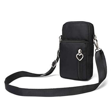 lehaha Bolsa de ombro, bolsa tiracolo para celular, bolsa de ombro, cinto, bolsa de mão, carteira feminina - preta, Preto, One Size
