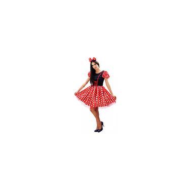 Imagem de Fantasia minnie vermelha adulto com tiara E laço pp