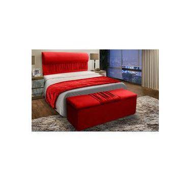 37174da03b Cabeceira Mais Calçadeira Baú King 195cm Para Cama Box Vitória Suede  Vermelho - DS Móveis