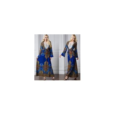 Estilo étnico estampado floral Bohemia Fashion Vestido longo casual roupas femininas