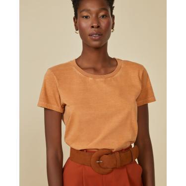 t-shirt básica estonada Feminino AMARO CARAMELO PP