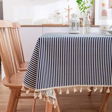 Imagem de Toalha de mesa azul margarida impressa jardim algodão linho borla renda casa toalha mesa de jantar ferramentas de mesa de café atacado-listras azul marinho, 229 x 228 cm