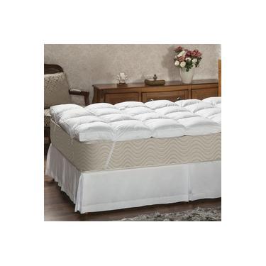 Imagem de Pillow Top Solteiro Plumasul Fibra Siliconada Percal 233 Fios Branco