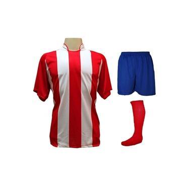 Fardamento Completo modelo Milan 18+2 (18 Camisas Vermelho/Branco + 18 Calções Madrid Royal + 18 Pares de Meiões Vermelhos + 2 Conjuntos de Goleiro) +