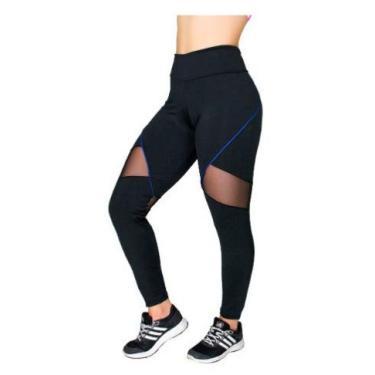 Calça Legging Tela Na Coxa Akira Fitness (roxo, g)