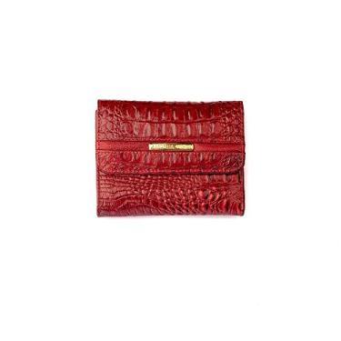 Carteira feminina pequena de couro Jade - Vermelho croco