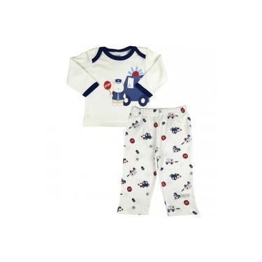 Pijama Bebê Menino Manga Longa e Calça Comprida Stop Carrinho Azul Zig Mundi