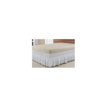 Imagem de Saia Box Para Cama Casal Queen Perola Com Lese Tecido Microfibra - Branco - Finos Enxovais