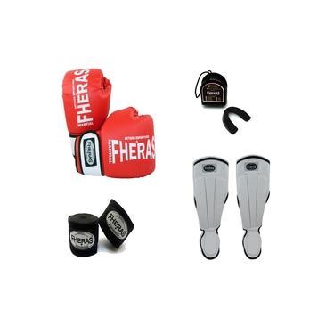 Kit Boxe Muay Thai Orion -Luva Bandagem Bucal Caneleira Anatômica -Vermelho/Branco