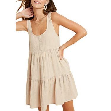Wishlist vestido Babydoll feminino com botão, Arena, Large
