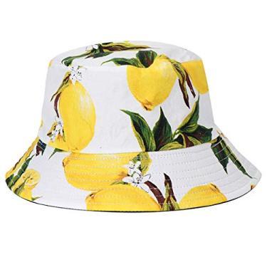 PRETYZOOM Chapéu balde de verão para uso ao ar livre com dupla face chapéu pescador limão estampado chapéu chapéu de sol chapéu de verão suprimentos (branco)