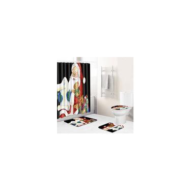 Imagem de 4 peças combinadas de Natal capa banheiro tapete de banheiro tapete higiênico cortina de chuveiro y13843