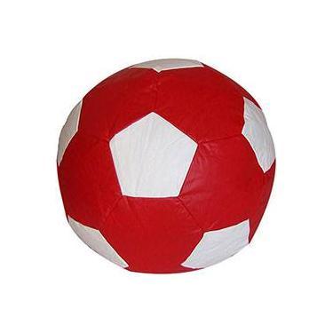 149a0071d4 Puff Infantil Bola de Futebol em Courino - Vermelho e Branco - Stay Puff