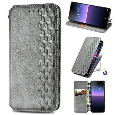 XYX Capa carteira para LG Stylo 7 5G, [Diamante em relevo][Fecho magnético] Capa para celular de couro PU premium compatível com LG Stylo 7 5G, cinza