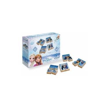 Imagem de Quebra-cabeças Infantil Blocos Frozen 32 Peças Madeira