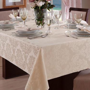 Toalha de mesa jacquard retangular 6 lugares marfim