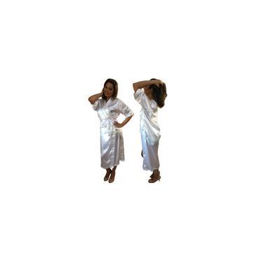 Imagem de Robe de Cetim Longo Lingerie Feminino Manga 3/4 Branco P