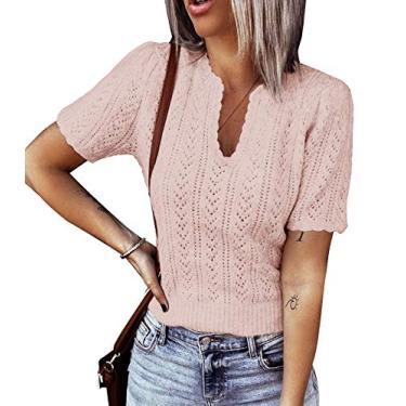 Suéter feminino de manga curta com gola em V e pulôver de malha leve Pointelle suéter túnica, rosa, S