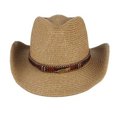 yotijar Chapéu de Cowboy Cowgirl de Palha Ocidental Unissex Aba Larga - Cáqui