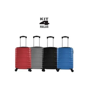 """Kit c/ 4 Malas de Bordo c/ 4 Rodinhas 360º (Regulamentação ANAC) Stile 18"""" - 1 Preta 1 Cinza 1 Vermelha 1 Azul"""