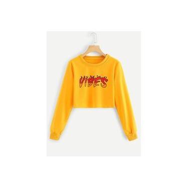 Blusa de Moletom Careca Cropped Vibes Ref20 Sem Capuz Modelo Curto Cor Amarelo
