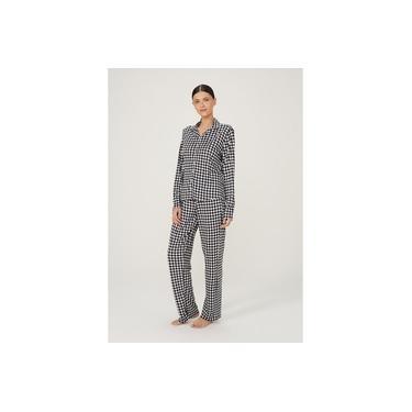 Pijama Feminino Longo Estampado Em Viscose