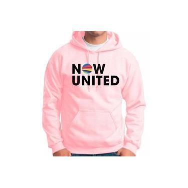 Moletom Now United Feminino e masculino Blusão Canguru Music Rosa