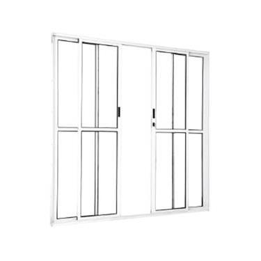 Porta de Correr Sacada Alumínio Branco 4 folhas 2,10 X 2,00