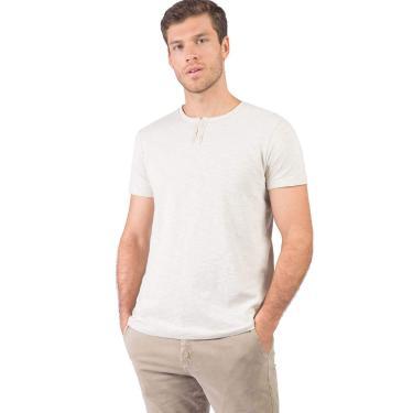 Camiseta Gola Portuguesa Filigrama Fit Fio Sem Costura, P, Cru