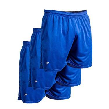 Kit c/3un Calção short futebol fitness corrida Proteção UV s/sunga Tamanho:P;Cor:Azul