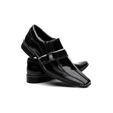 888b772ca0 Sapato Social Masculino Couro Verniz Costura Manual Vr Preto