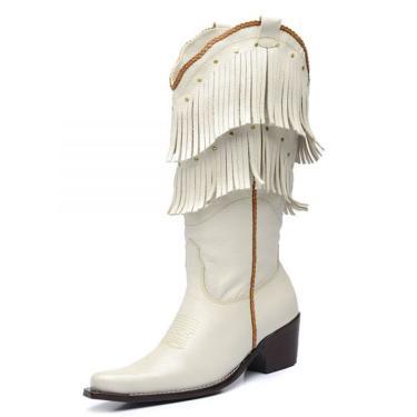 Bota Top Franca Shoes Country Branco  feminino