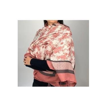 Lenço Feminino / Echarpe Flores E Margaridas Rosa