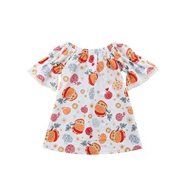 Imagem de Adorável vestido de festa com estampa floral de abóbora e manga curta, vestido de verão para Halloween, roupas fofas para o verão, Branco, 2-3 anos