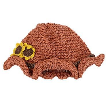 Amosfun Chapéu de praia de girassol com tecido de palha para crianças, chapéu de proteção solar, chapéu de verão UV para mulheres e homens, Laranja, 23x23x15cm