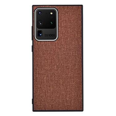 """YINCANG Capa Galaxy Note 20 Ultra Case,Tecido de Lona TPU Macio e Resistente a Arranhões Case Smartphone de Alta Qualidade Capa para Samsung Galaxy Note 20 Ultra 6.9"""" Castanho"""