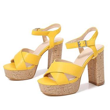 Imagem de SaraIris Sandálias femininas de verão com salto aberto, bico aberto, fivela no tornozelo, sandálias de salto grosso para festa, 2 Amarelo, 6.5
