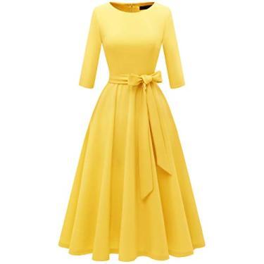 Vestido feminino casual de chá com manga 3/4 e vestido de formatura vintage, Amarelo, Small