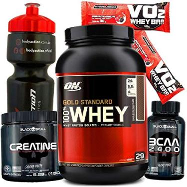 Kit Whey protein Gold Standard Optimum On 907g + BCAA 2400 + Creatina - Chocolate