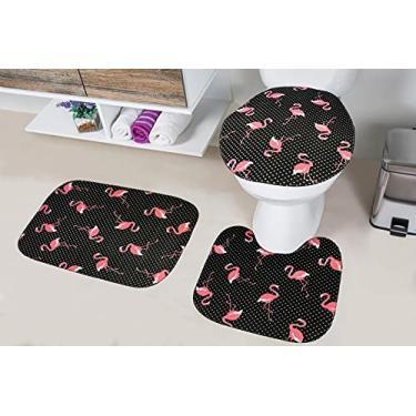 Imagem de Jogo de Tapete Para Banheiro 3 Peças Tecil - Flamingo Preto