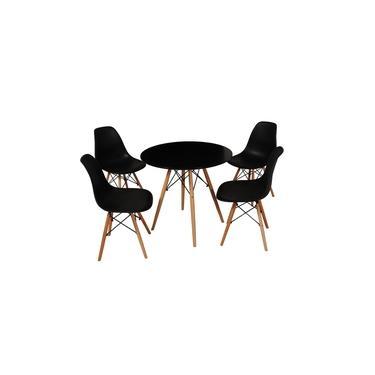 Imagem de Kit Mesa Jantar Eames Eiffel 80cm + 4 Cadeiras Eames Eiffel - Preta