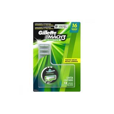 Imagem de Carga para Aparelho de Barbear Gillette Mach 3 Sensitive para Peles Sensíveis 16 Unidades