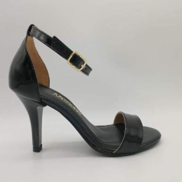 Sandália Sapatos Feminino Salto Alto Fino Conforto Macio Cor:Verniz Preto-FF;Tamanho:39