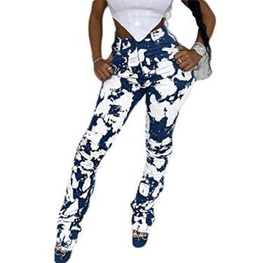 KLJR Calça feminina casual de algodão com cintura alta grafite e bolsos, Azul, Large